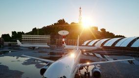 Avión en el aeropuerto Mañana azul Concepto del viaje y del negocio almacen de metraje de vídeo