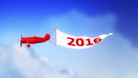Avión 2016 en las nubes (lazo) stock de ilustración