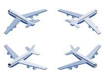 Avión isométrico en diversos ángulos en blanco stock de ilustración