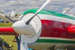 Avión juguetón YAK-52 en la exhibición durante el acontecimiento deportivo de la aviación dedicado al 80.o aniversario de DOSAAF Foto de archivo