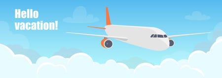 Avión que vuela sobre las nubes Aviones en el cielo Ejemplo del concepto del viaje para la línea aérea de la publicidad, página w stock de ilustración