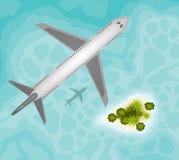 Avión sobre la isla tropical del paraíso ilustración del vector