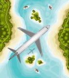Avión sobre paisaje tropical Recepción al paraíso libre illustration