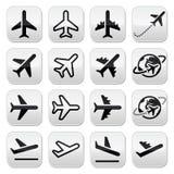 Avión, vuelo, iconos del aeropuerto fijados Fotos de archivo libres de regalías