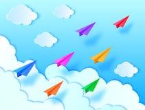 Aviões, céu azul e nuvens Imagem de Stock Royalty Free