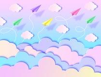 Aviões, céu azul e nuvens Imagem de Stock