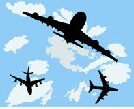 Aviões com fundo Fotografia de Stock