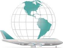 Aviões com modelo da terra Foto de Stock Royalty Free