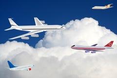 Aviões comerciais no céu fotografia de stock