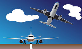 Aviões comerciais que evitam o impacto Imagem de Stock