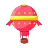 Aviões cor-de-rosa de Baloon do ar quente, elemento ajardinando justo da terra dos doces do conto de fadas projeto colorido crian Imagem de Stock Royalty Free