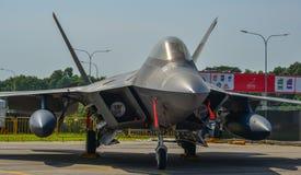 Aviões da ave de rapina F-22 em Changi, Singapura foto de stock