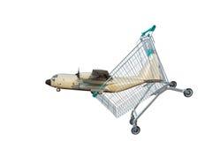 Aviões da carga no carro do trole da compra no fundo branco Foto de Stock