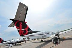 Aviões da turboélice do gêmeo do rei Air 350ER de Beechcraft na exposição em Singapura Airshow Fotografia de Stock