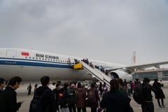 Aviões de Air China Airbus no aeroporto do Pequim em China Imagem de Stock