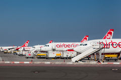 Aviões de Airberlin em Berlin Germany Imagem de Stock
