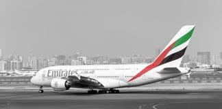 Aviões de Airbus A380 das linhas aéreas dos emirados Foto de Stock