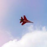 Aviões de lutador do russo no céu nebuloso Imagem de Stock Royalty Free