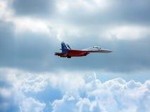 Aviões de lutador do russo no céu nebuloso Fotos de Stock Royalty Free