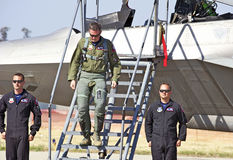 Aviões de lutador táticos da ave de rapina de Lockheed Martin F-22 Fotografia de Stock