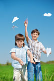 Aviões de papel Fotos de Stock