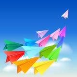 Aviões de papel coloridos Imagens de Stock Royalty Free