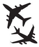 Aviões de passageiros de quatro motores do jato no ar Fotografia de Stock