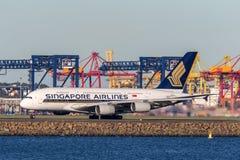 Aviões de Singapore Airlines Airbus A380 em Sydney Airport Foto de Stock
