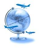 Aviões do globo do curso do mundo Fotografia de Stock Royalty Free
