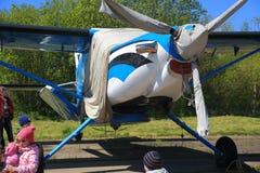 Aviões e crianças da turboélice Fotos de Stock Royalty Free