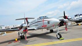 Aviões especiais da missão do rei Air 350ER de Beechcraft na exposição em Singapura Airshow Fotos de Stock Royalty Free
