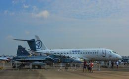 Aviões na exposição em Changi, Singapura foto de stock royalty free