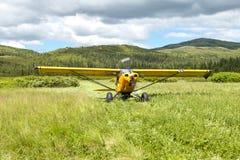 Aviões pequenos que descolam no prado cênico do país Imagens de Stock