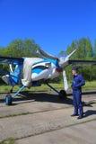 Aviões próximos piloto militares da turboélice do russo Foto de Stock Royalty Free