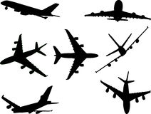 Aviões 1 silhueta do vetor Foto de Stock Royalty Free