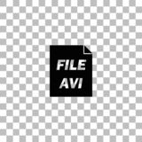 AVI icon flat. AVI. Black flat icon on a transparent background. Pictogram for your project vector illustration