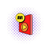 AVI file icon in comics style. On a white background Stock Photo