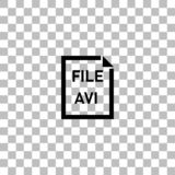 AVI File icon flat. AVI File. Black flat icon on a transparent background. Pictogram for your project stock illustration
