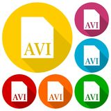 AVI file icons set with long shadow Royalty Free Stock Photos