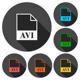 AVI file icons set with long shadow. Simple vector icon Stock Photos