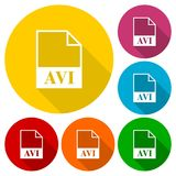 AVI file icons set with long shadow Royalty Free Stock Image