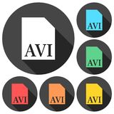 AVI file icons set with long shadow Stock Photo