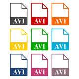 AVI file icons set Royalty Free Stock Photography
