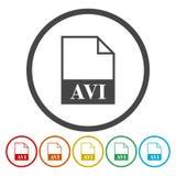 AVI file icons set. Vector icon stock illustration