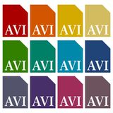 AVI file icons set Royalty Free Stock Images
