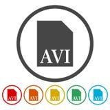 AVI file icons set. Vector icon royalty free illustration