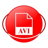 Avi file vector illustration, Red icon. Red icon, avi file vector illustration, vector icon Royalty Free Stock Photo