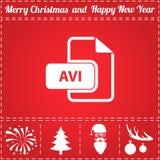 AVI Icon Vector. And bonus symbol for New Year - Santa Claus, Christmas Tree, Firework, Balls on deer antlers vector illustration