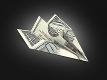 Avi?n de papel del d?lar en el fondo negro 3d de la pendiente ilustración del vector
