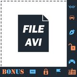 AVI icon flat. AVI. Perfect icon with bonus simple icons royalty free illustration